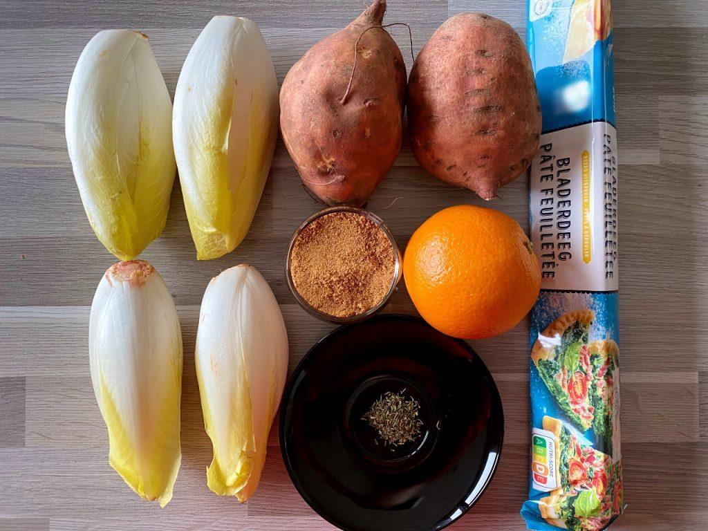 tarte tatin van witloof en zoete aardappelen ingrediënten