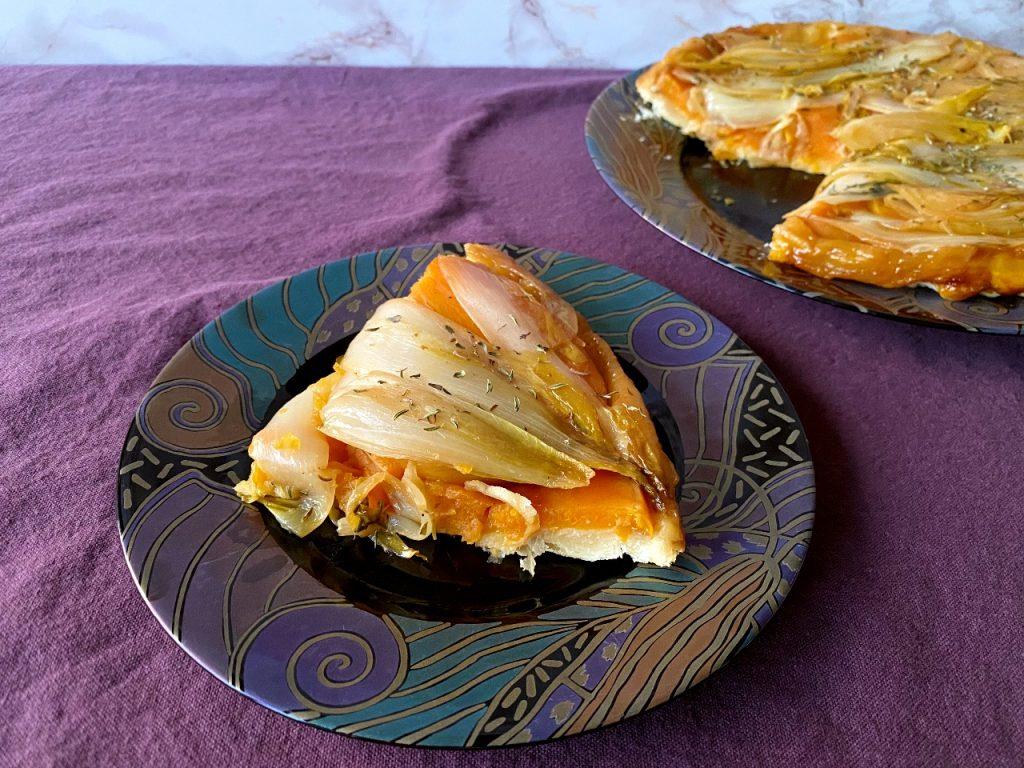 tarte tatin van witloof en zoete aardappelen sinaasappel