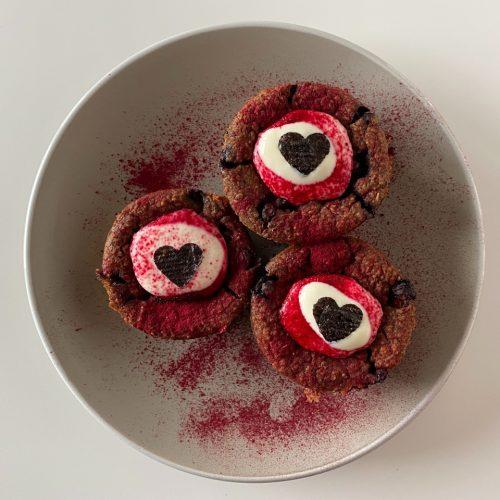 vegan muffins met banaan en bosbessen - Valentijn