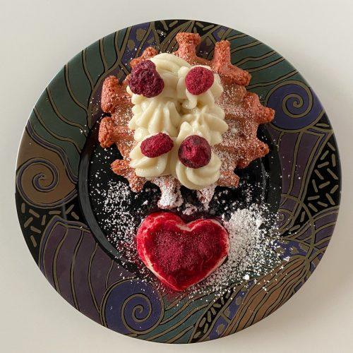 vegan rode bietenwafels Valentijn hart