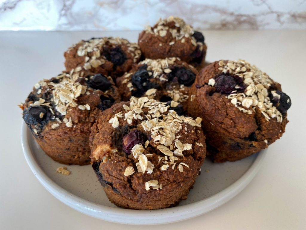 gezonde vegan muffins met blauwe bessen