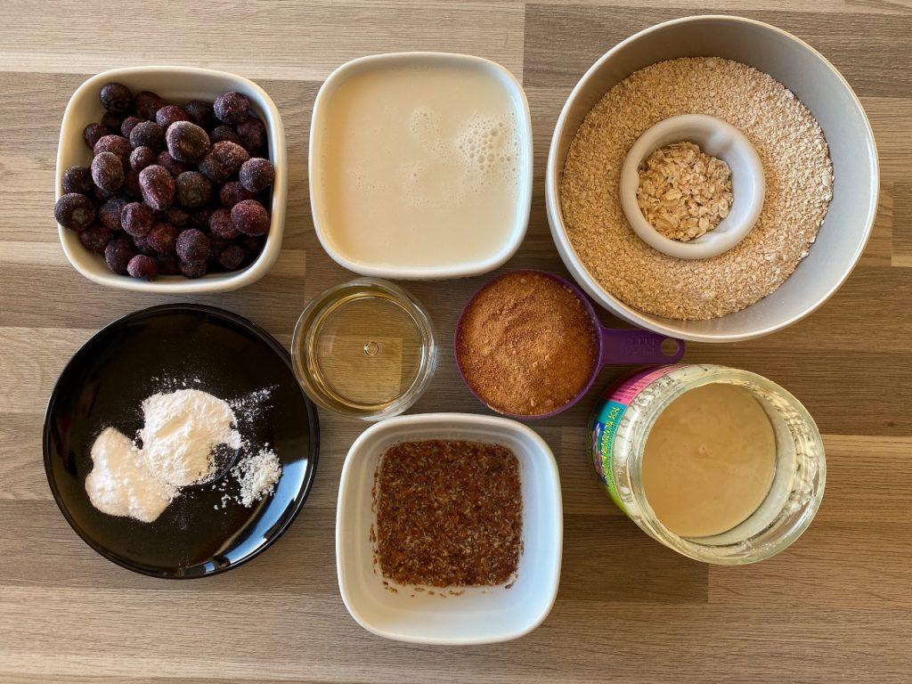 gezonde vegan muffins met blauwe bessen ingrediënten
