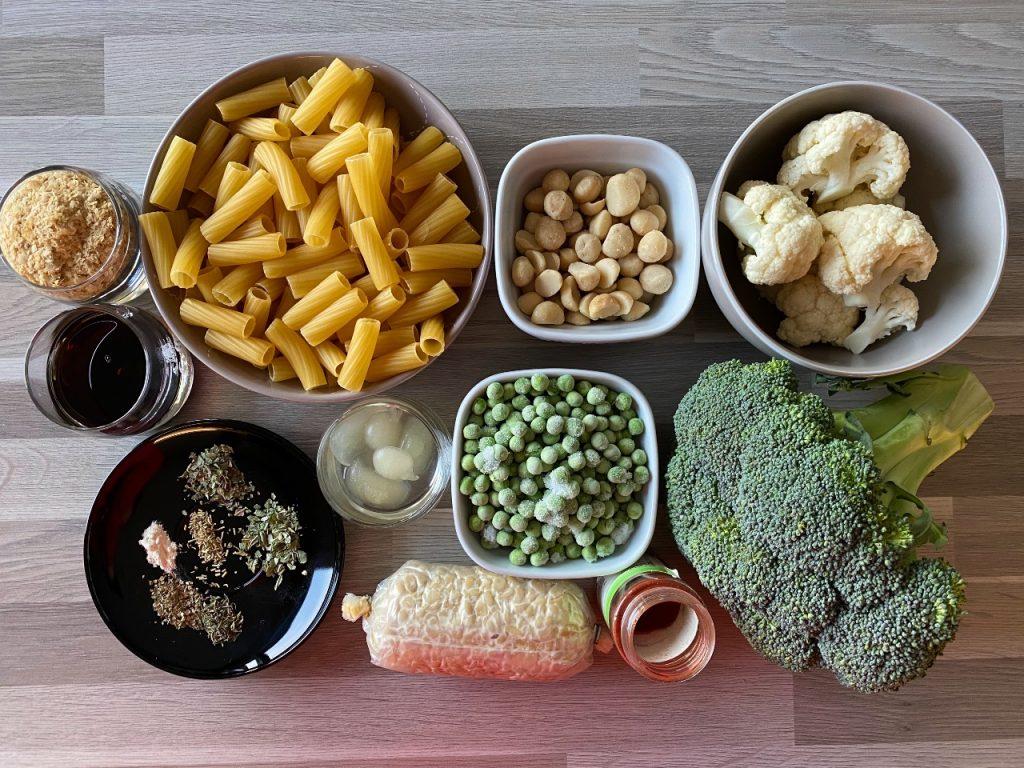 Pasta met vegan ricotta ingrediënten