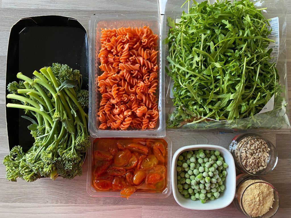 snelle vegan pastasalade ingrediënten