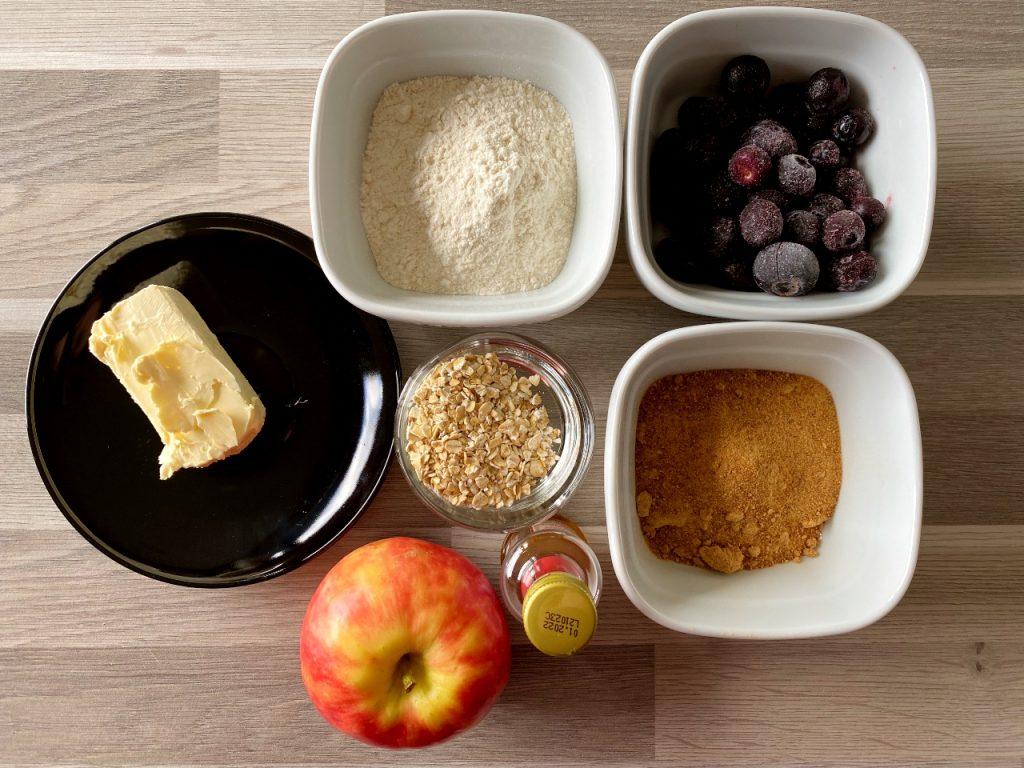 vegan crumble met appel en blauwe bessen ingrediënten