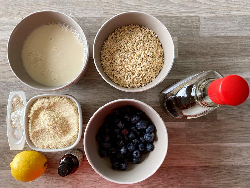 vegan American pancakes met blauwe bessen ingrediënten