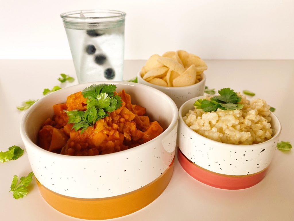 curry rijst kroepoek vegan