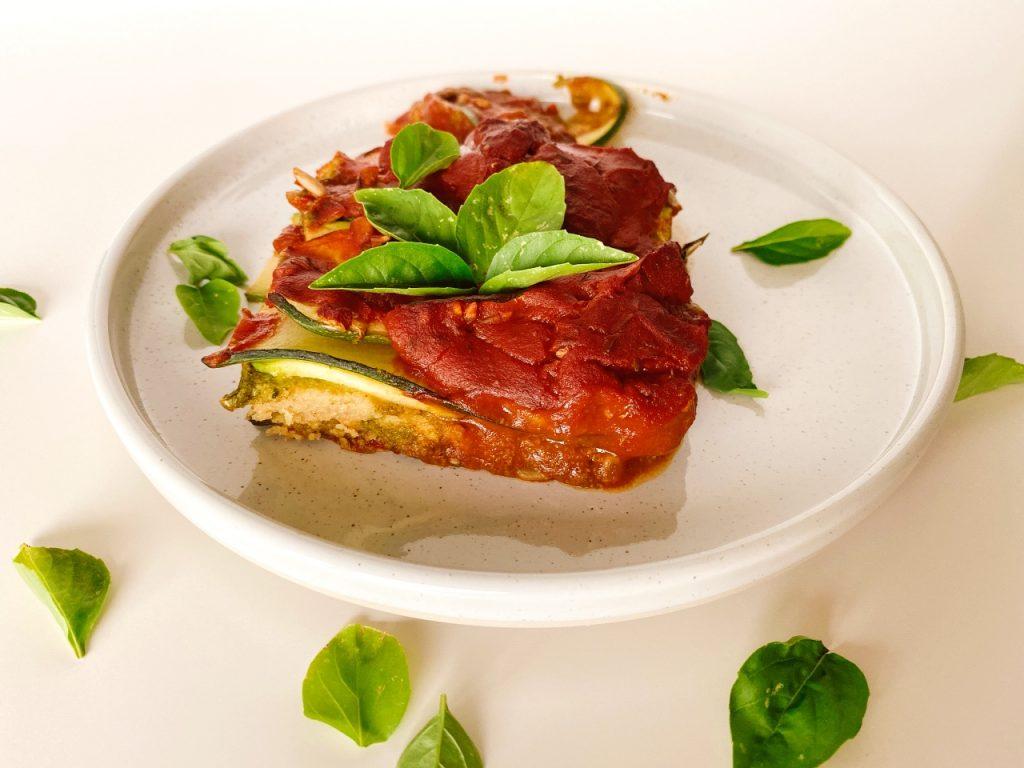 vegan courgette lasagne basilicum