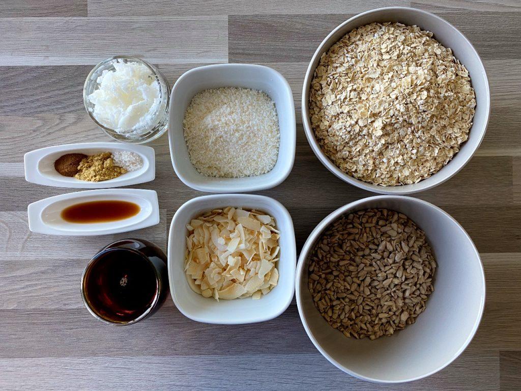 vegan granola met kokos ingrediënten