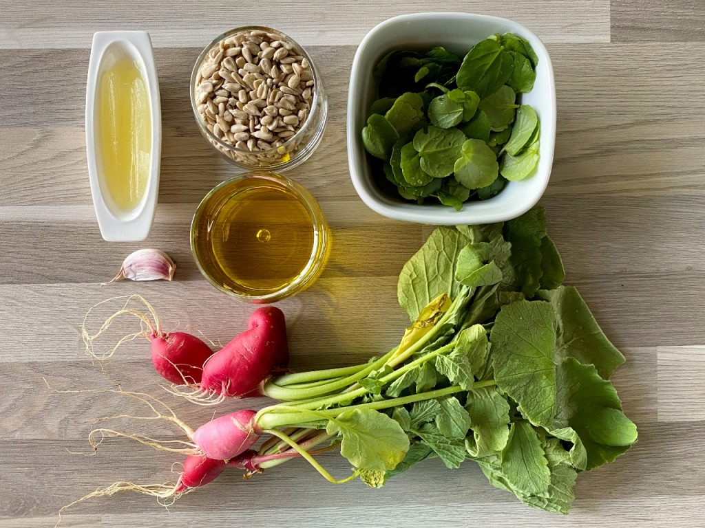 vegan pesto van radijsloof ingrediënten