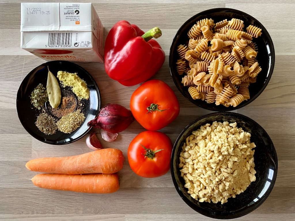 bolognesesaus met sojabrokken ingrediënten