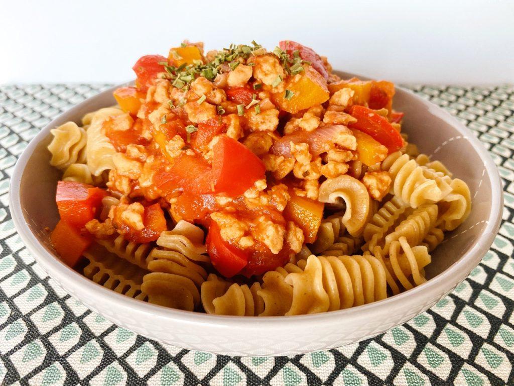 bolognesesaus met sojabrokken pasta