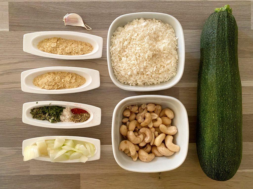 vegan ovenschotel met courgette ingrediënten