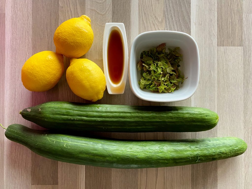 citroenwater met komkommer en munt ingrediënten